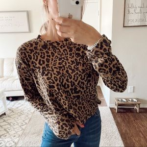 Leopard Print Long Sleeve Top Turtle Neck